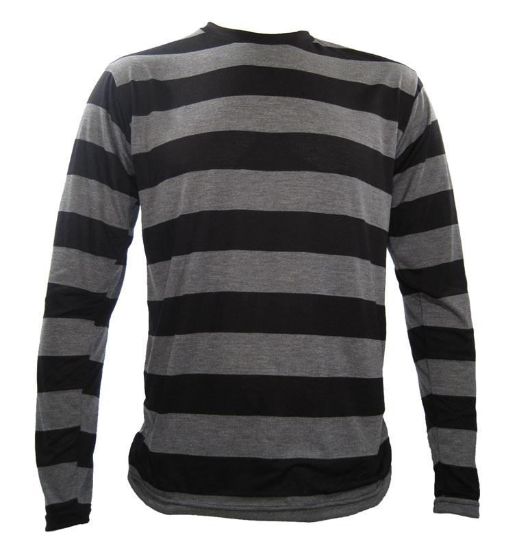 nyc long sleeve punk stripe striped shirt black grey ebay