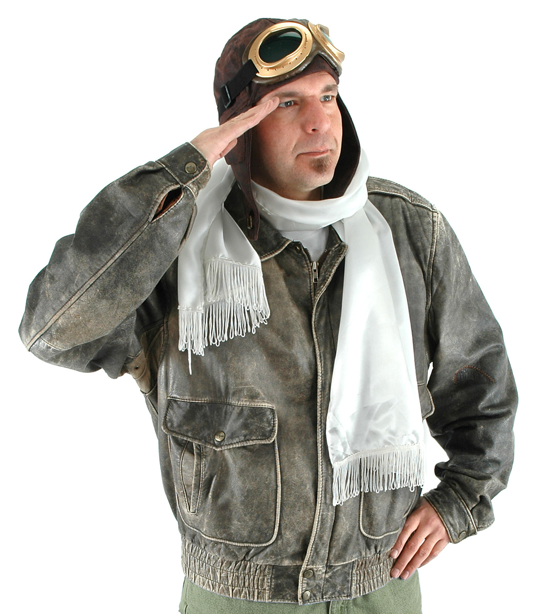 Aviator Costume Kit Adult Men Women Goggles Hat Scarf