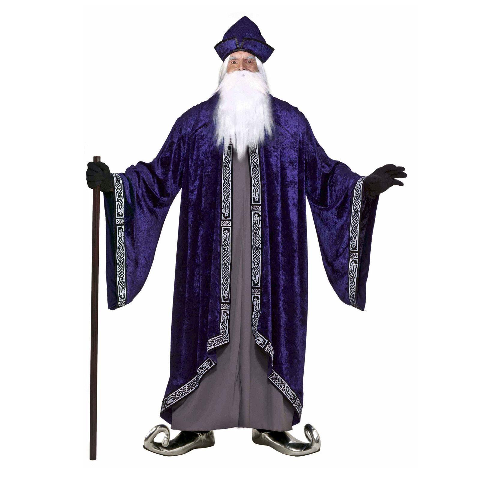 Wizard Warlock Sorcerer Robe Tunic Hat Plus Size Men's ...