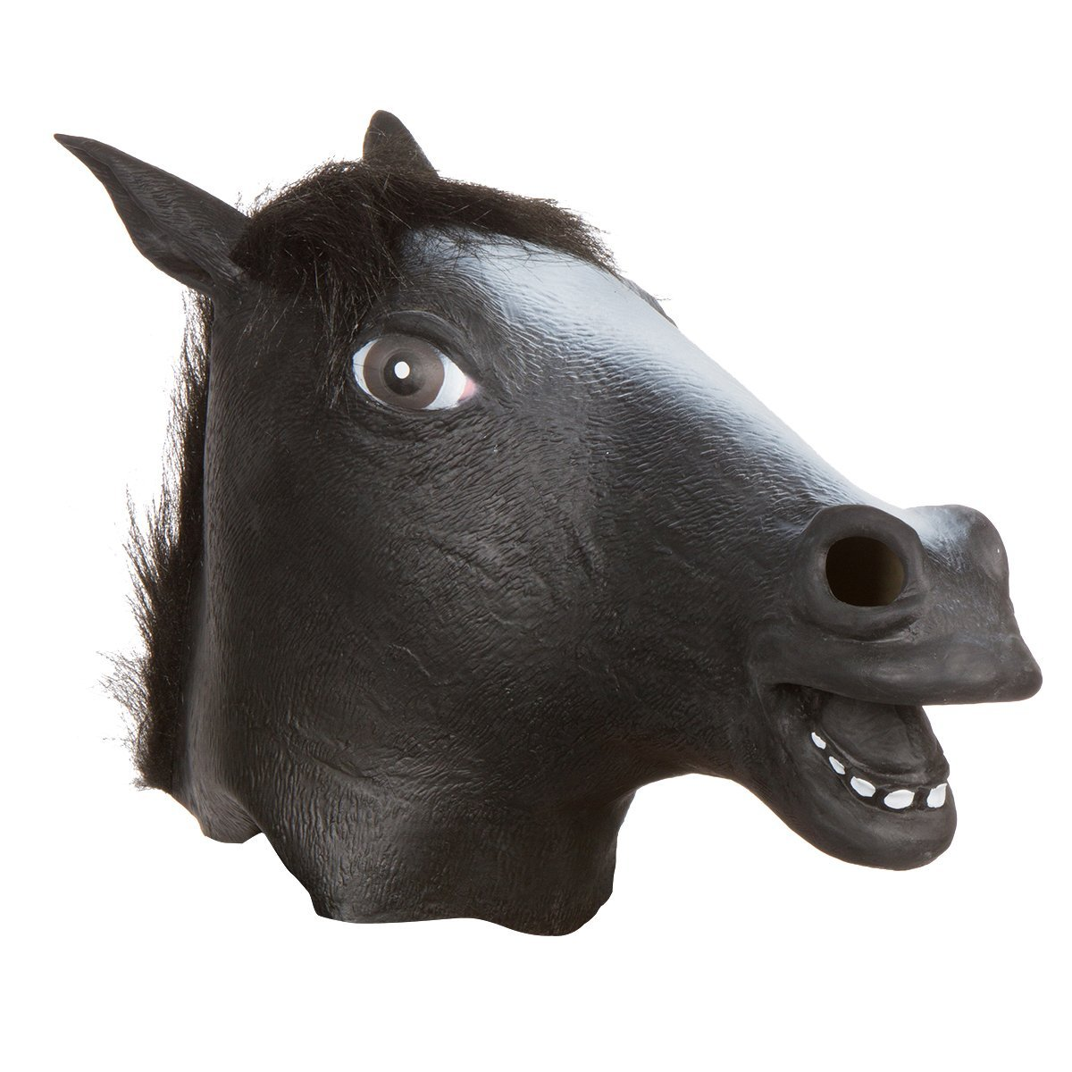 Horse Head Full Mask Animal Soft Rubber Latex Black Costume Adult Teen