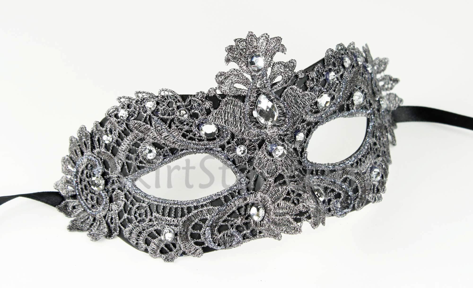 Silver lace masquerade masks