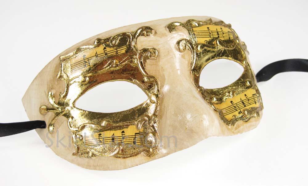 VENETIAN MASK masquerade Paper Mache MUSIC JESTER gold silver renaissance fair