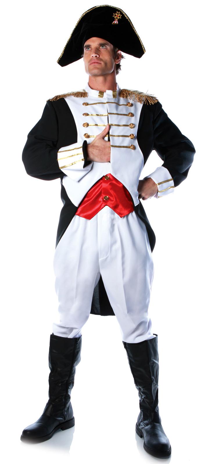 White apron fancy dress - Napoleon Bonaparte French Revolution Military General Jacket Hat Costume Adult