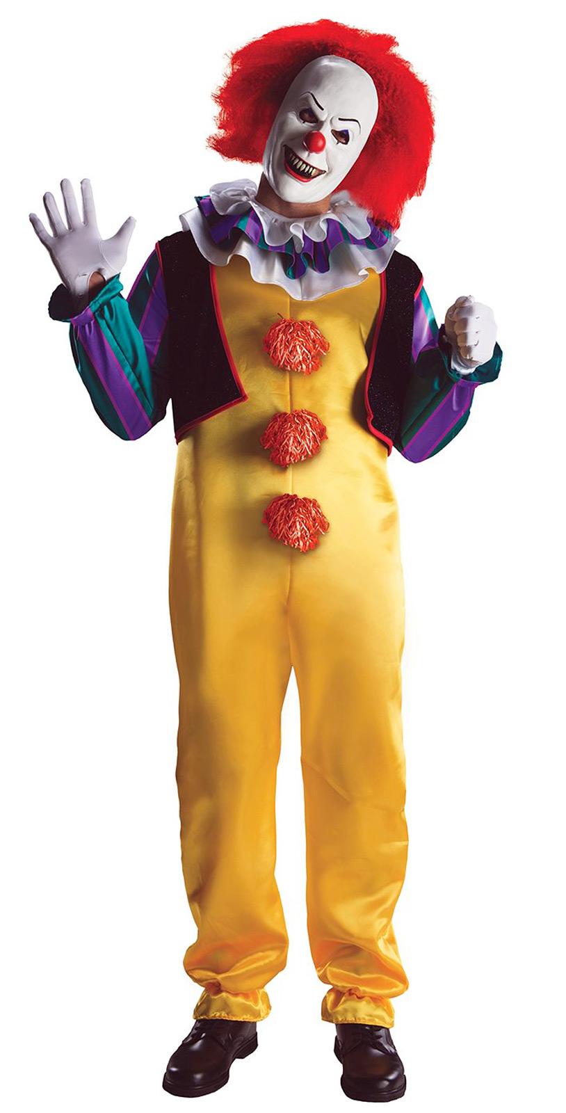 PENNYWISE IT KILLER CLOWN Jumpsuit Mask Costume Adult Standard ...
