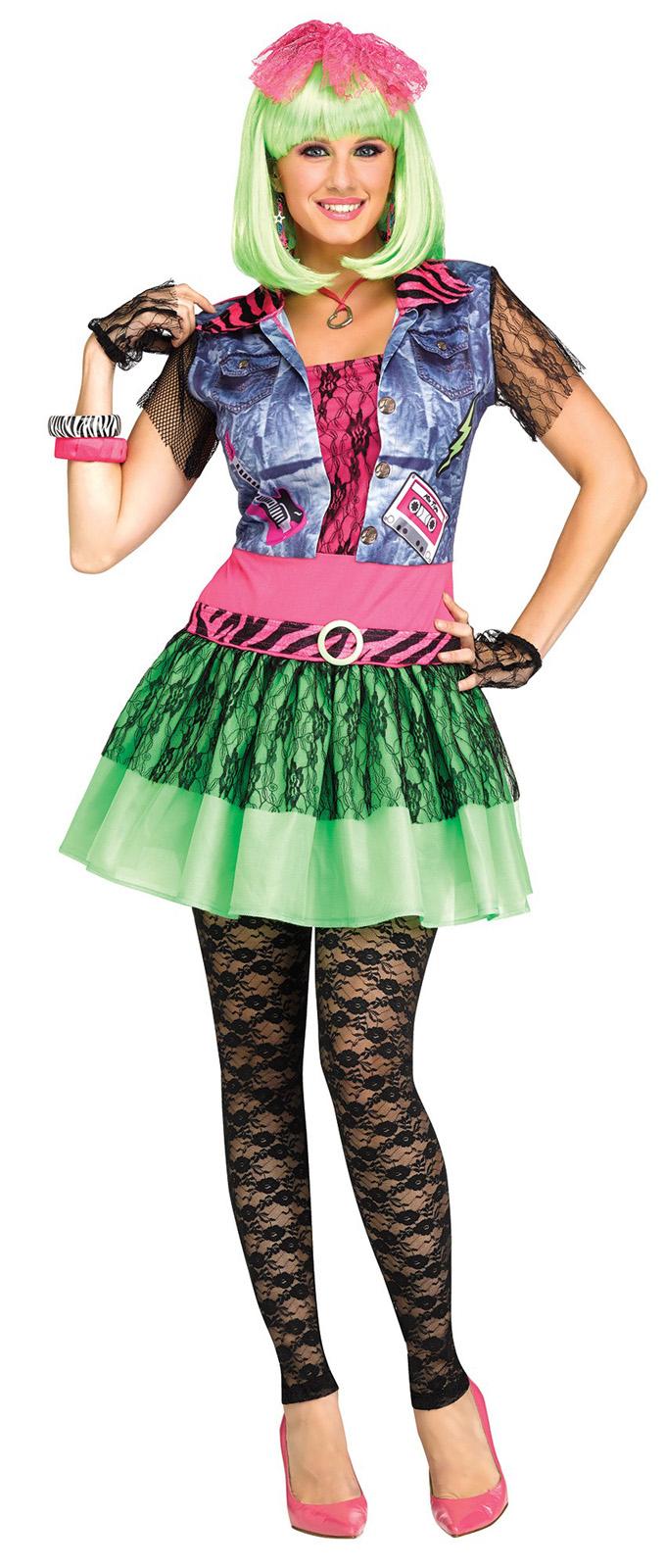 Rockin 80s Costume Dress Womens Dance Club Retro Cyndi Lauper Material Girl Lace | eBay