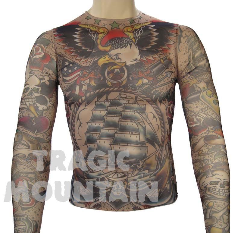 Tinsley tattoo temporary nylon mesh sailor shirt ebay for Mesh tattoo shirt