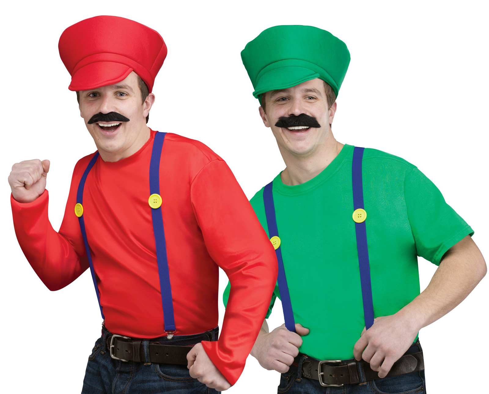 Super MARIO LUIGI BROS Shirt Hat Adult Costume Kit