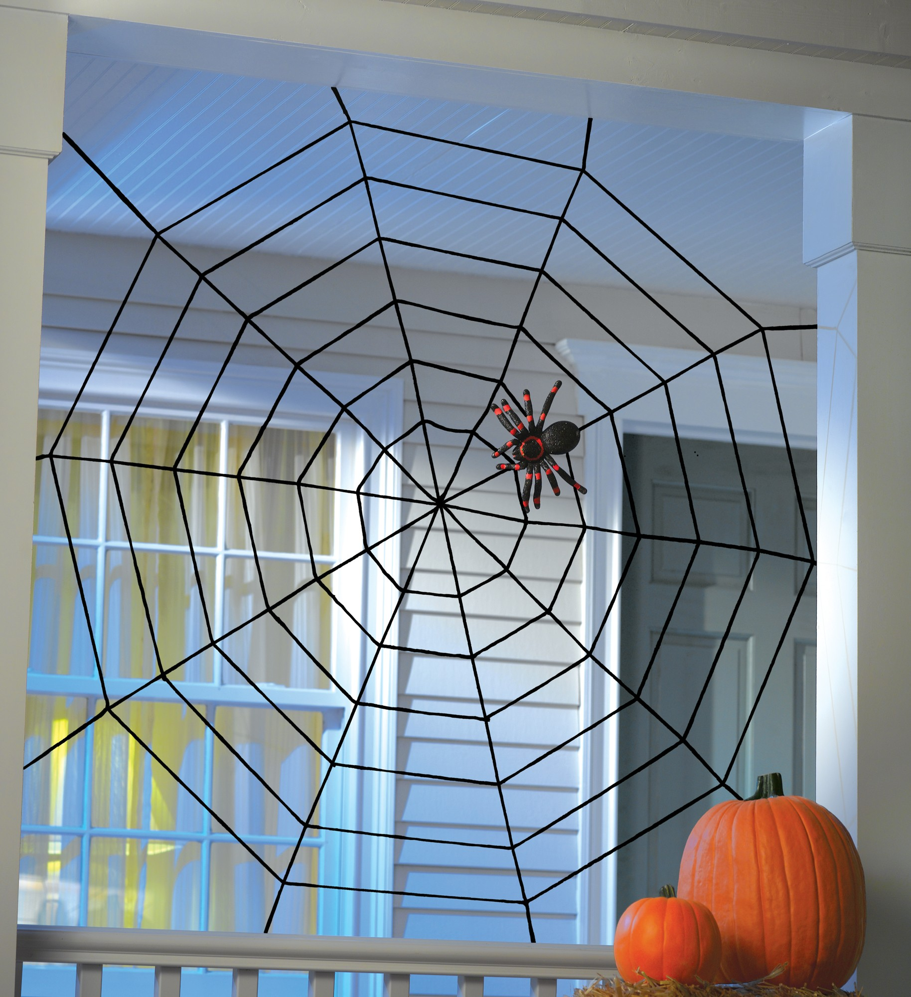 Web Decor: Black Widow Rope Spider Web Haunted House Decor Halloween