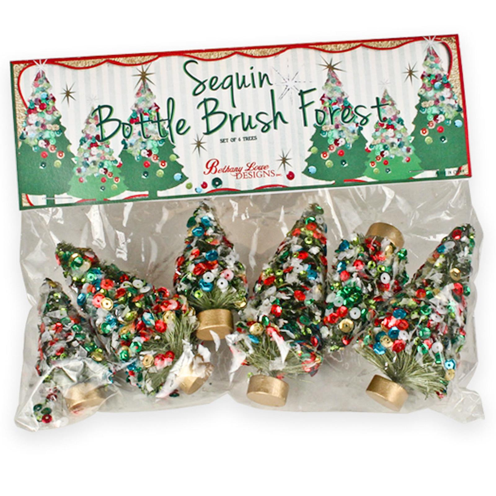 Christmas Decorations Santa Clarita Ca: Bethany Lowe Set/6 Retro Bottle Brush Sequin Christmas