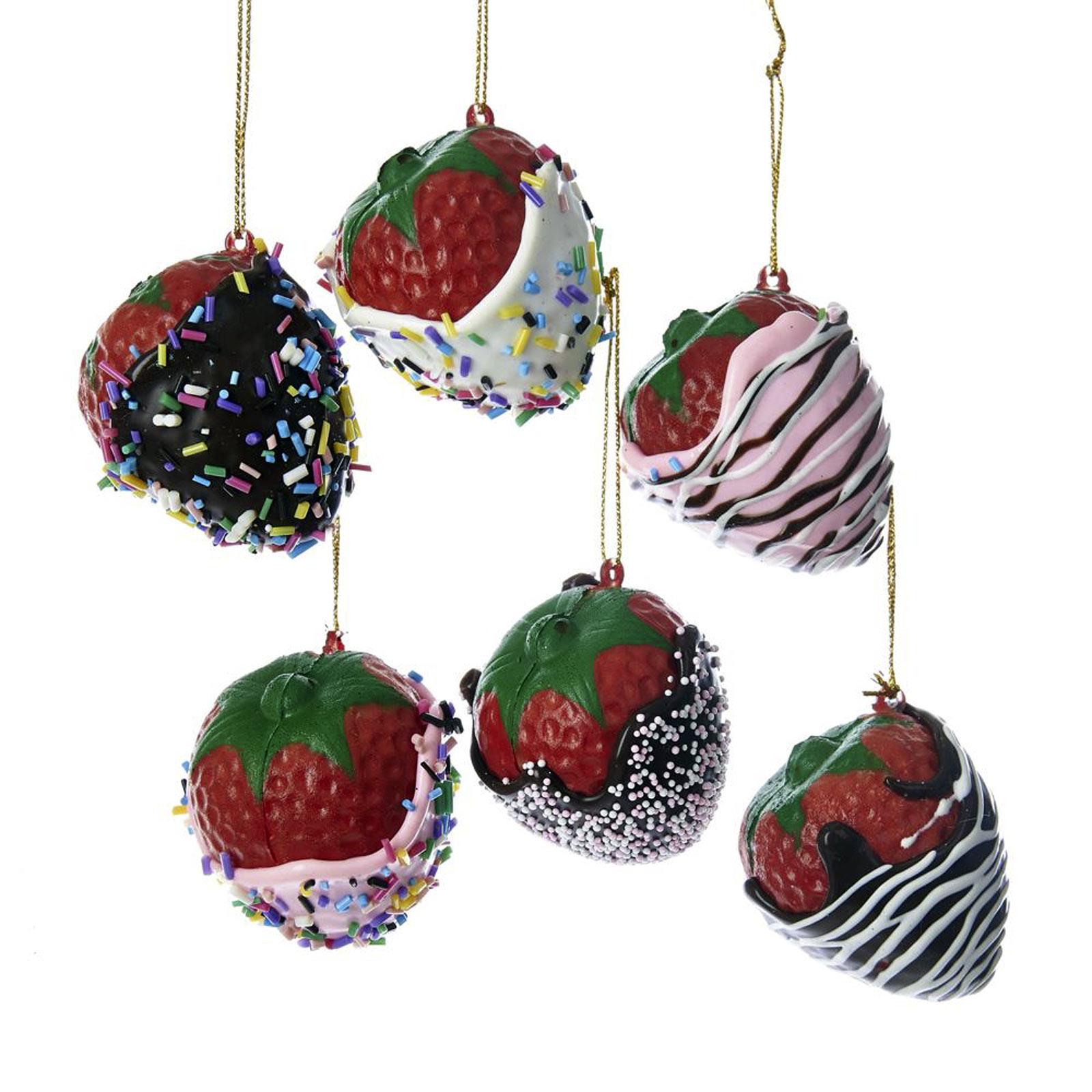 Christmas Decorations Santa Clarita Ca: Set/6 Kurt Adler Realistic Chocolate Strawberry Ornaments