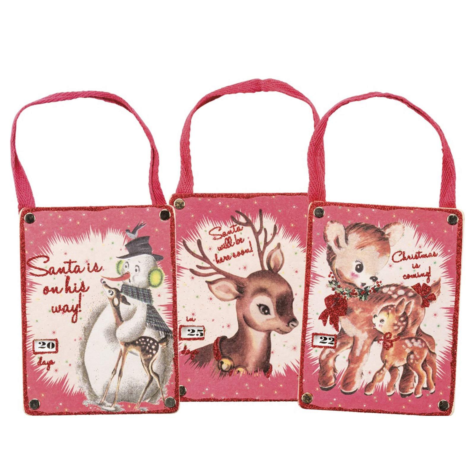Christmas Decorations Santa Clarita Ca: Set/3 Countdown Ornaments Deer Christmas Hanging Retro 60s