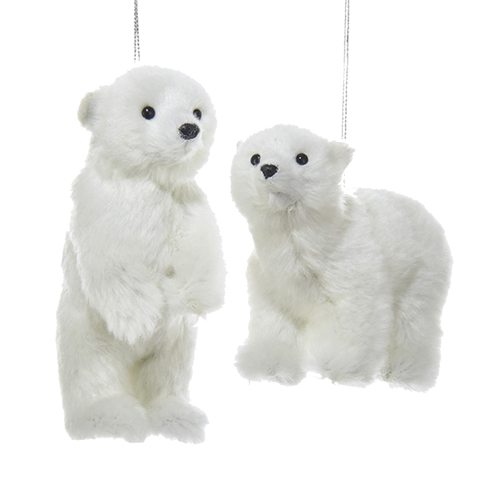 Christmas Decorations Santa Clarita Ca: Set/2 Kurt Adler Furry Animal White Polar Bear Christmas