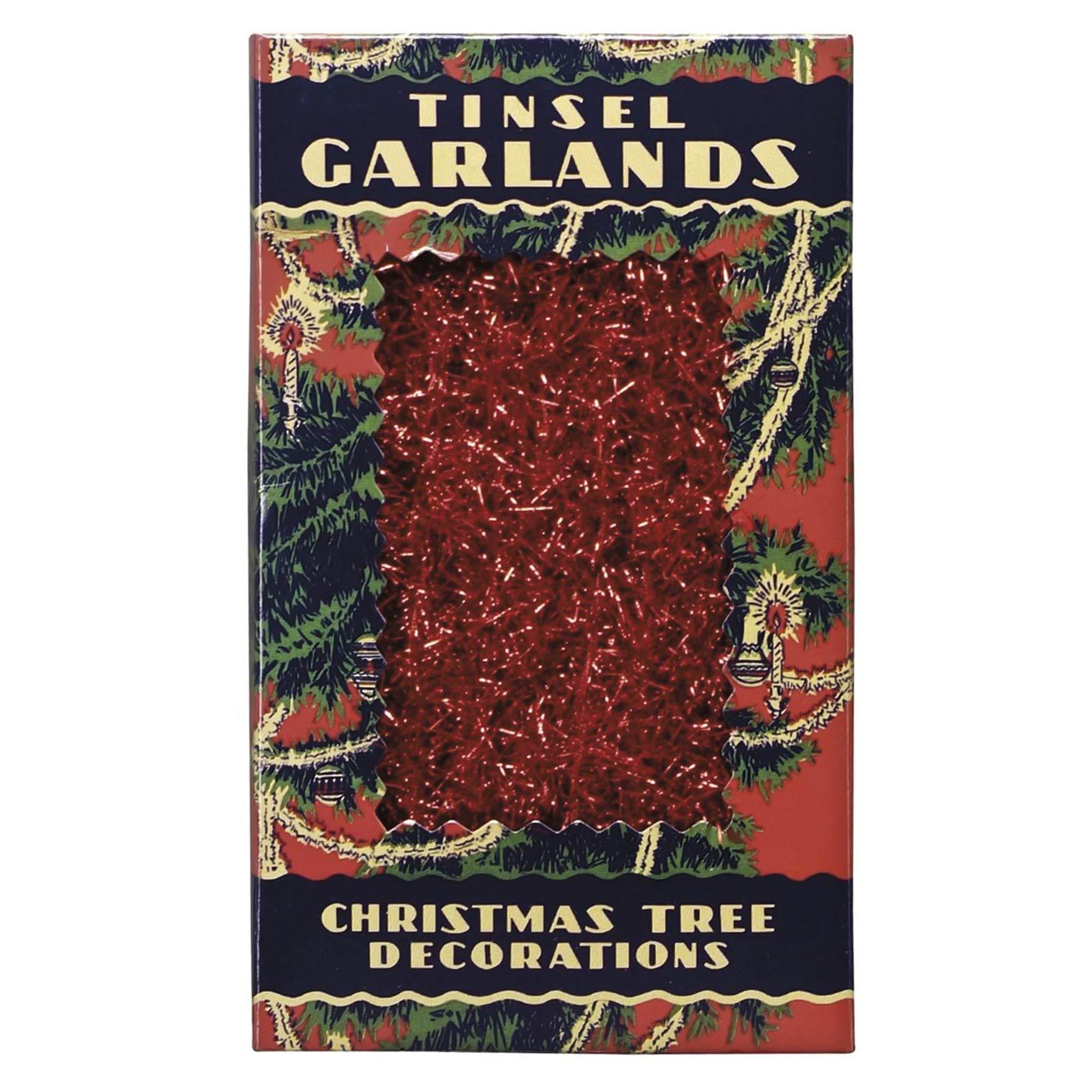 Christmas Decorations Santa Clarita Ca: Antique Vintage 60's Style Tinsel Garland Red Holiday