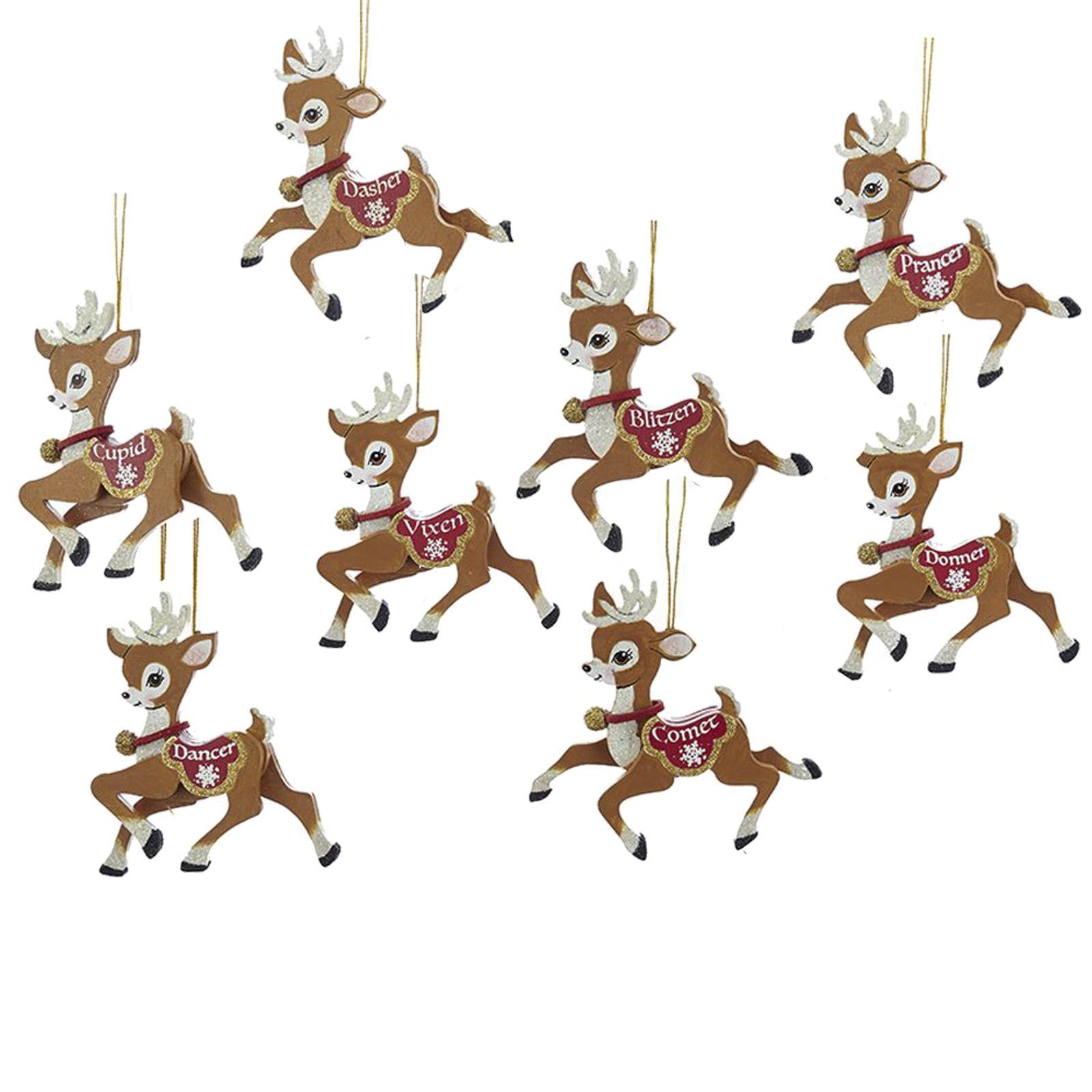 Christmas Decorations Santa Clarita Ca: Kurt Adler Santa's Reindeer Cute Christmas Ornaments