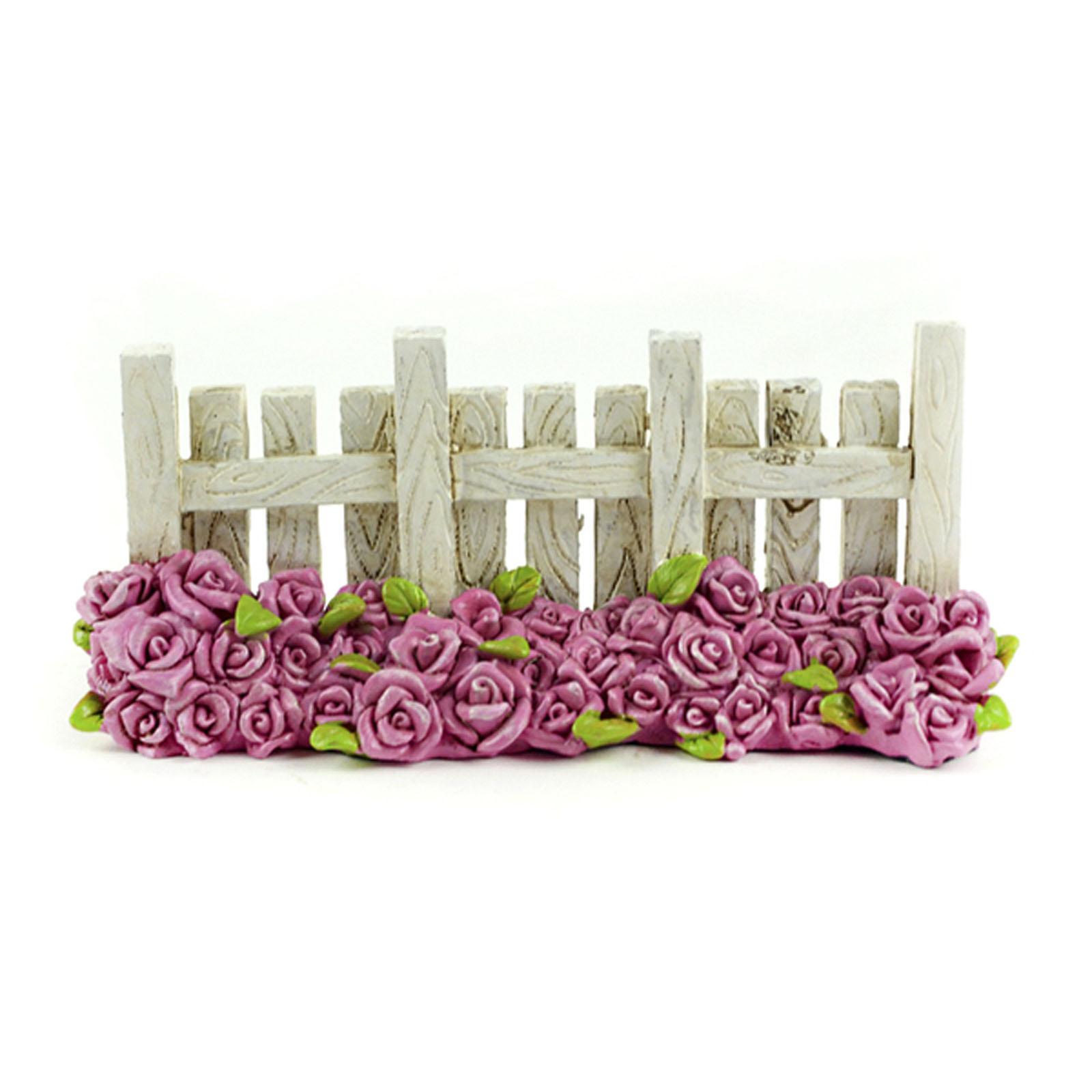 "Christmas Decorations Santa Clarita Ca: 5"" Fairy Garden White Picket Fence Rose Flower Spring"