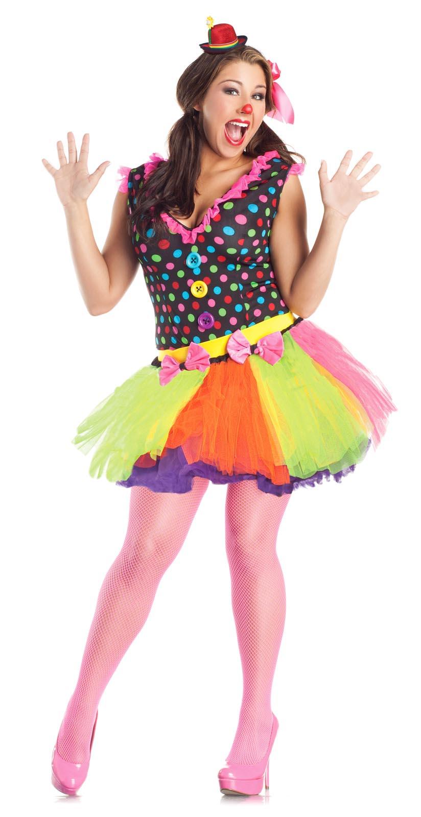 Adult Women Plus Size Cute Circus Clown Costume Dress