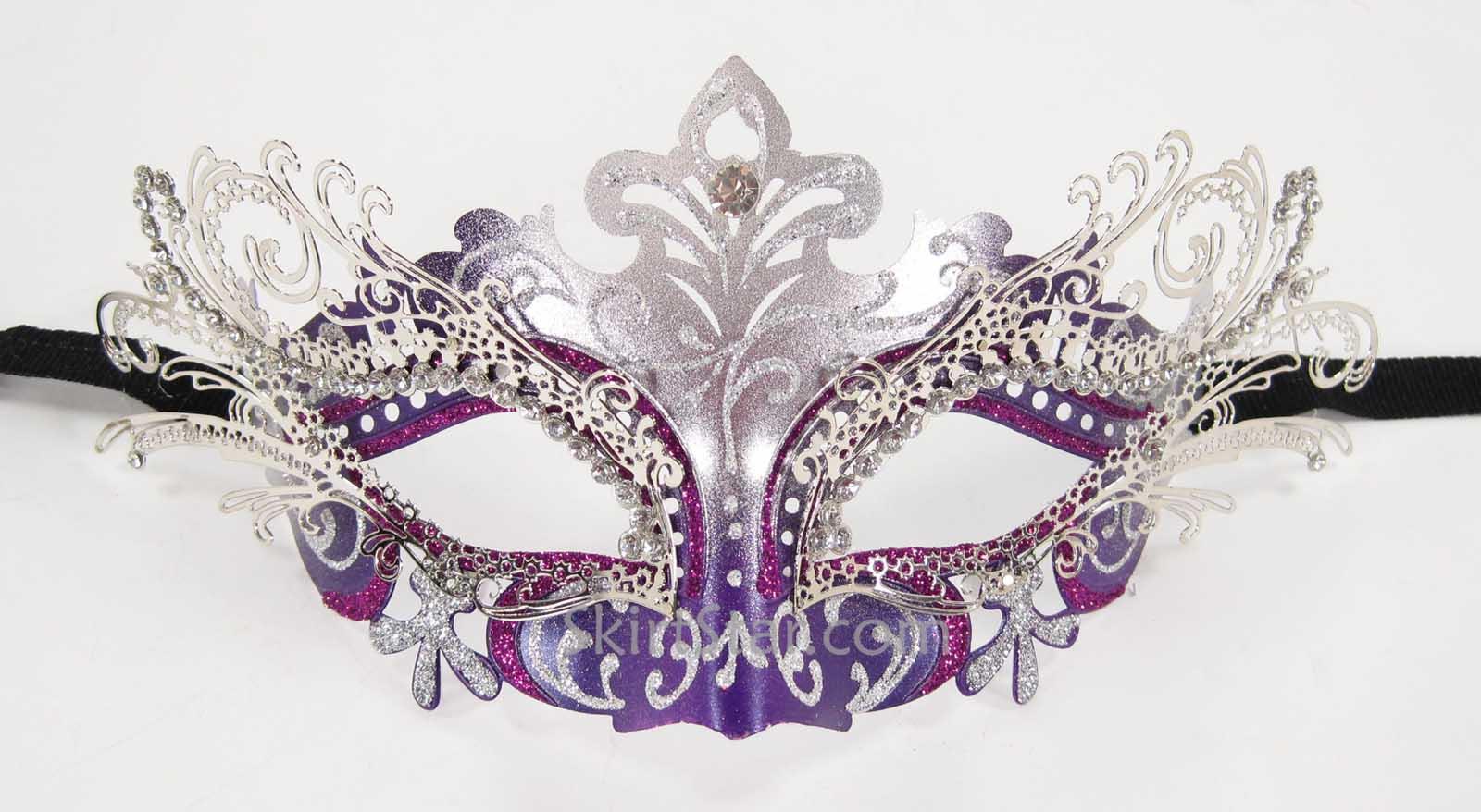 Laser Cut Metal Venetian Mask Masquerade Ball Purple