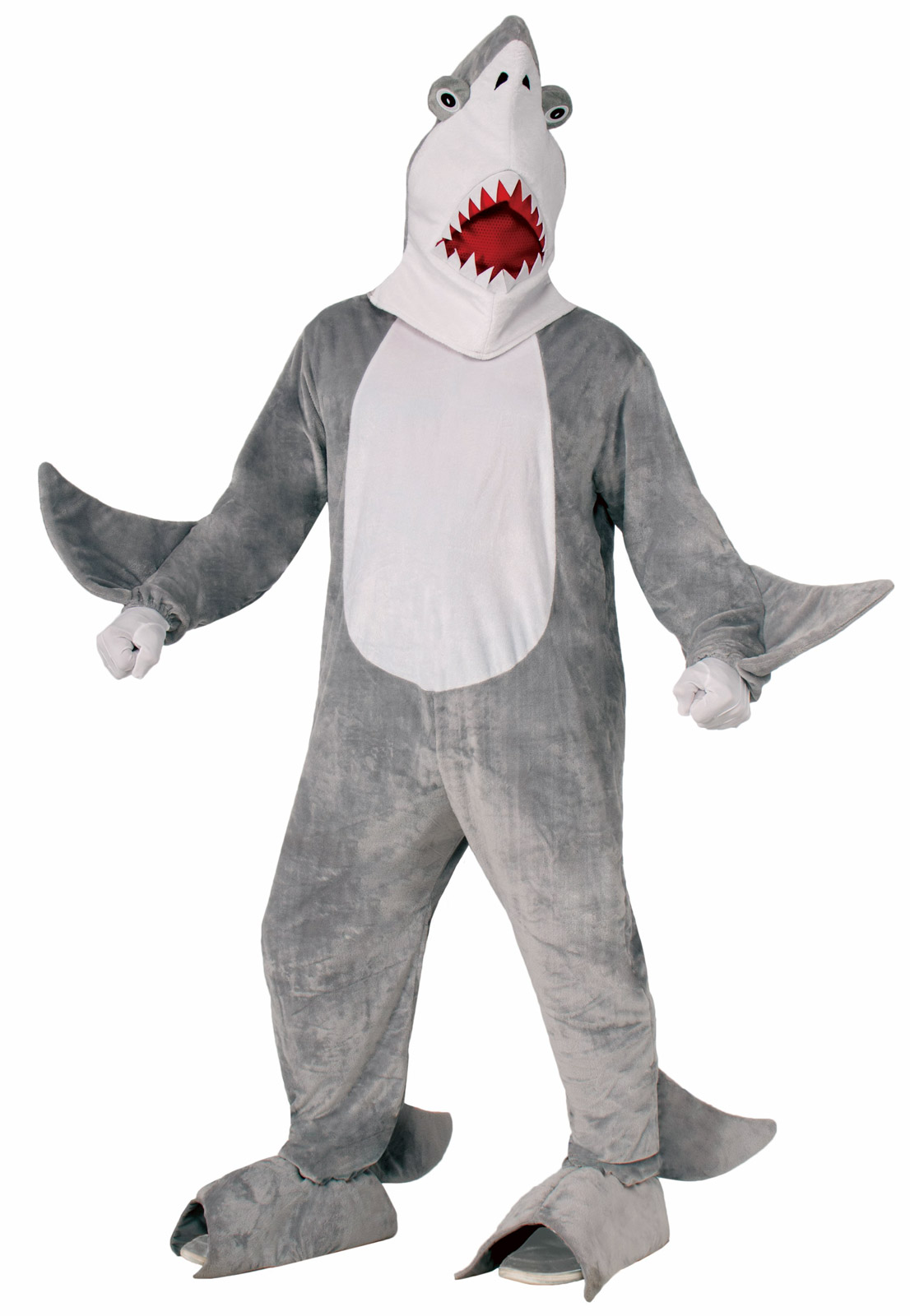 Plush furry chomper the shark jaws adult standard size for Life size shark plush