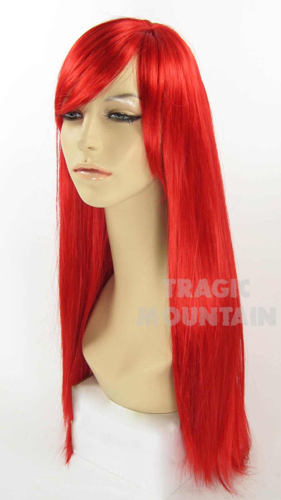 Long Bright Red Little Mermaid Wig Bangs Ariel Jessica ...